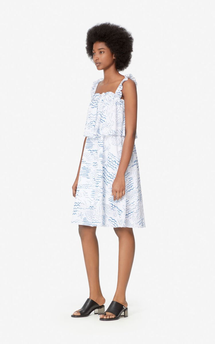 DUCK BLUE 'Wave Mermaid' frilled dress for women KENZO