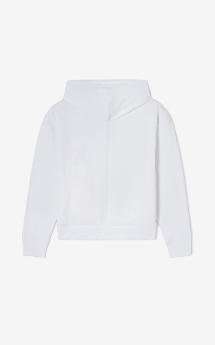 WHITE 'Lucky Tiger' zipped sweatshirt for women KENZO
