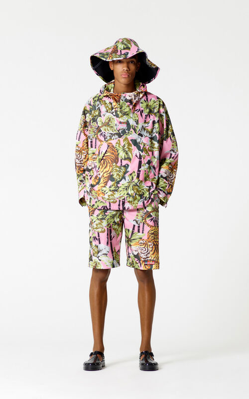 FLAMINGO PINK 'Bamboo Tiger' hooded windbreaker for men KENZO