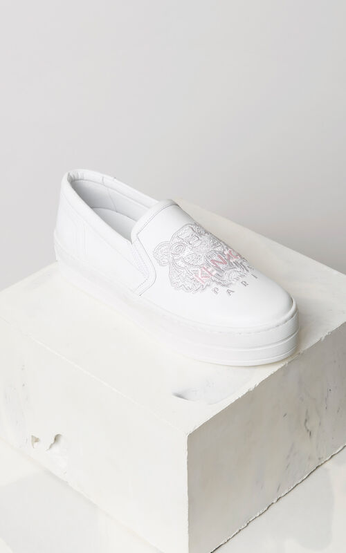 WHITE Tiger slip-on leather platform for women KENZO