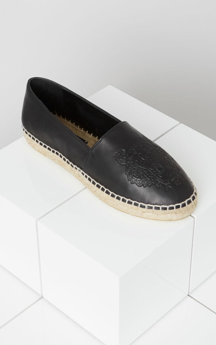 BLACK Leather Tiger Espadrilles for women KENZO