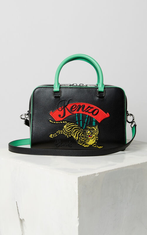 BLACK Large 'Jumping Tiger' leather bowling bag for unisex KENZO