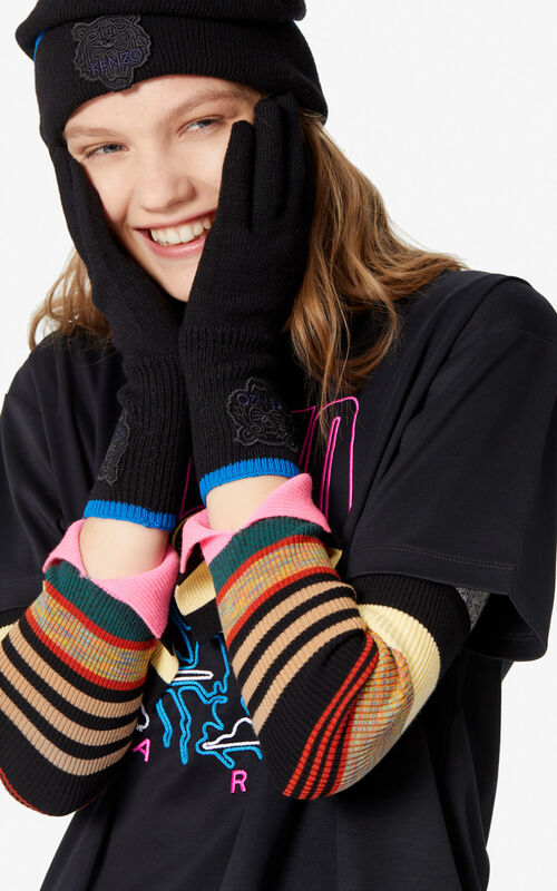 BLACK Two-tone Tiger gloves for women KENZO
