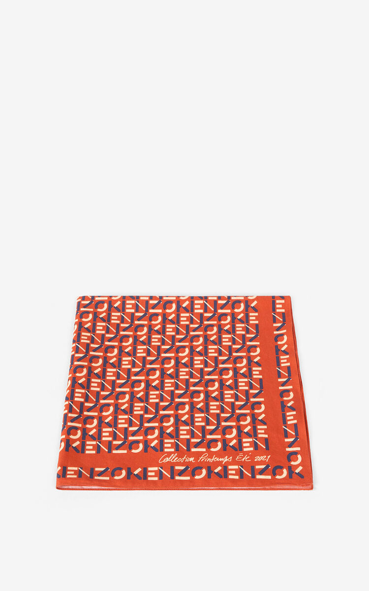DEEP ORANGE KENZO monogrammed bandana for unisex