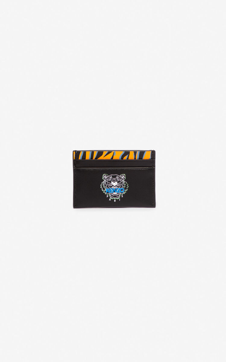 BLACK 'Tiny Tiger' leather card holder for men KENZO