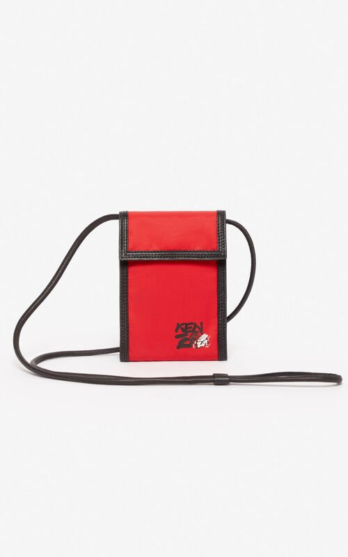MEDIUM RED 'Kung Fu Rat' Phone Holder on strap  for unisex KENZO
