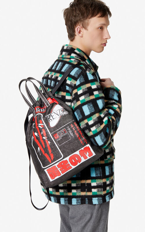BLACK 'Rice Bags' drawstring backpack for men KENZO