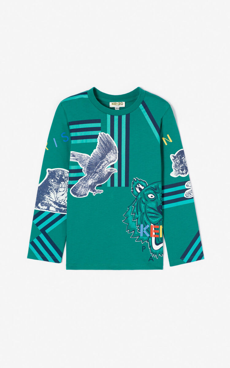 GREEN Multi-icon 'Crazy Jungle' T-shirt for women KENZO