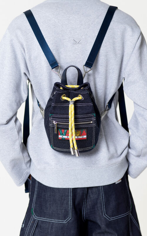 NAVY BLUE Mini denim 'Kanagawa Wave' backpack for men KENZO