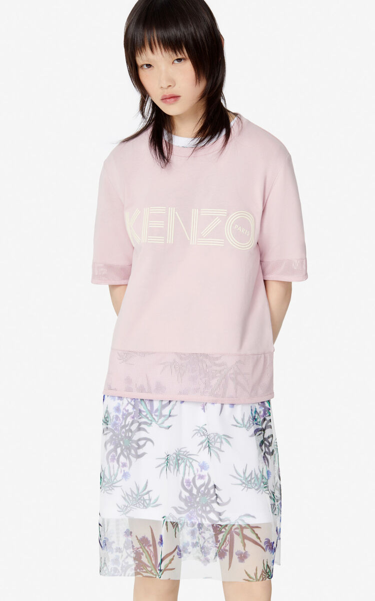 FADED PINK KENZO logo dual-material T-shirt for women
