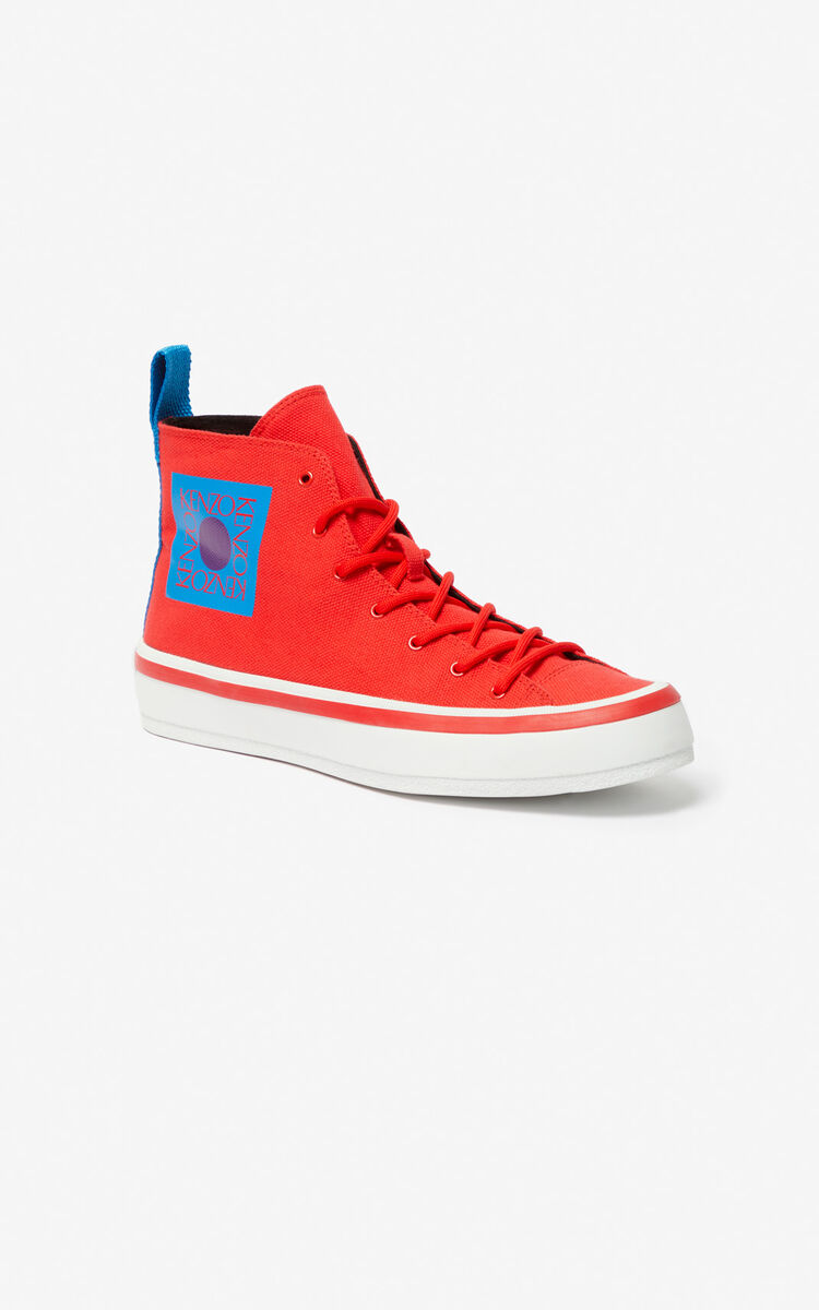 MEDIUM RED 'Square Logo' K-Street sneakers for unisex KENZO