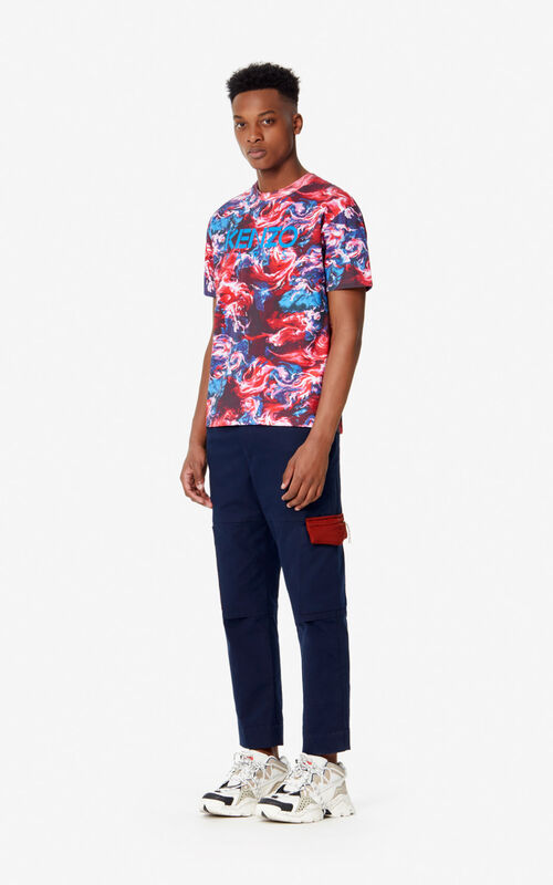 MEDIUM RED 'KENZO World' T-shirt for men