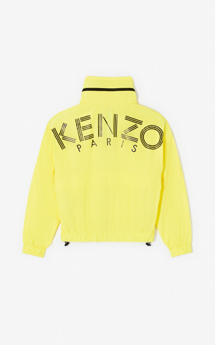 GOLDEN YELLOW KENZO Logo windbreaker jacket for women