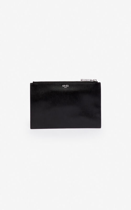 BLACK A5 Eye leather clutch for women KENZO