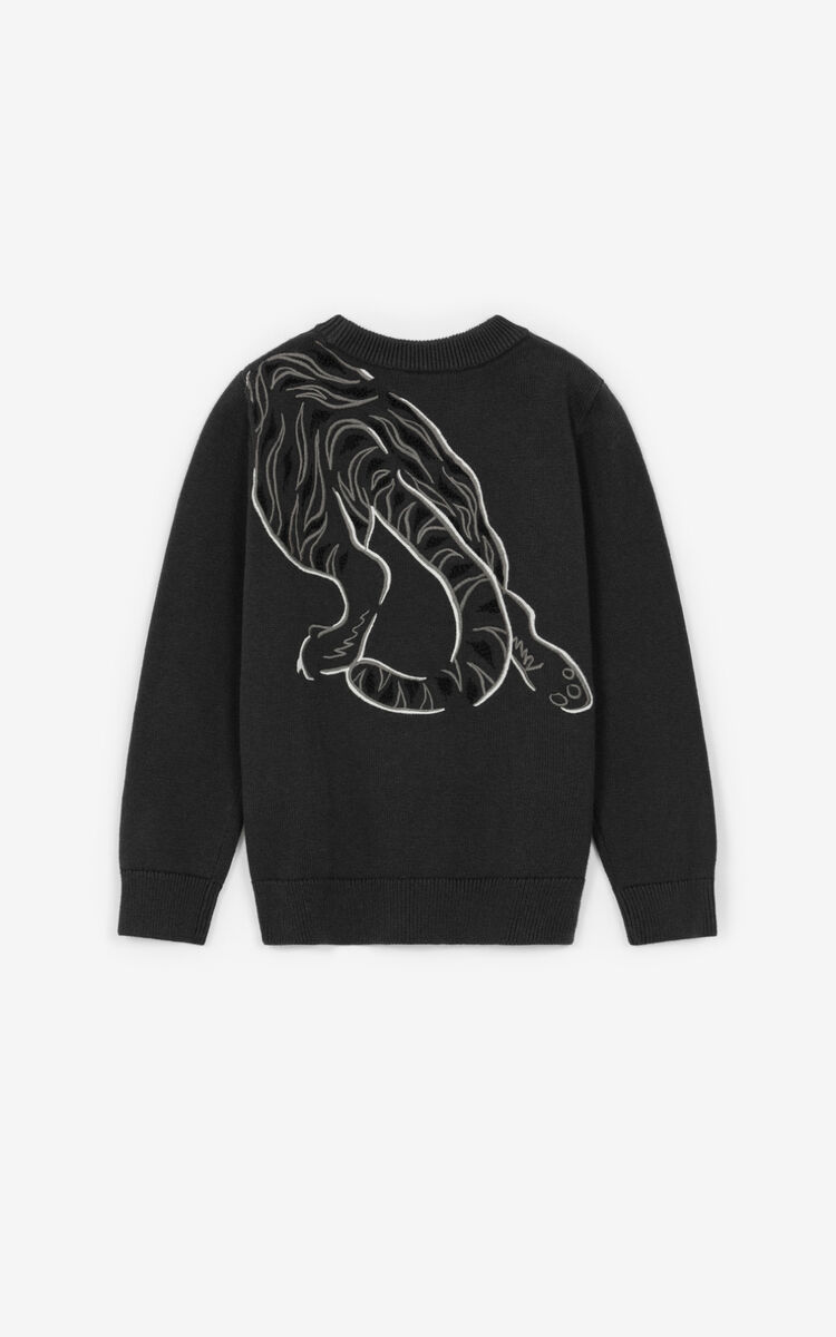 ANTHRACITE 'Geo Tiger' sweater for unisex KENZO
