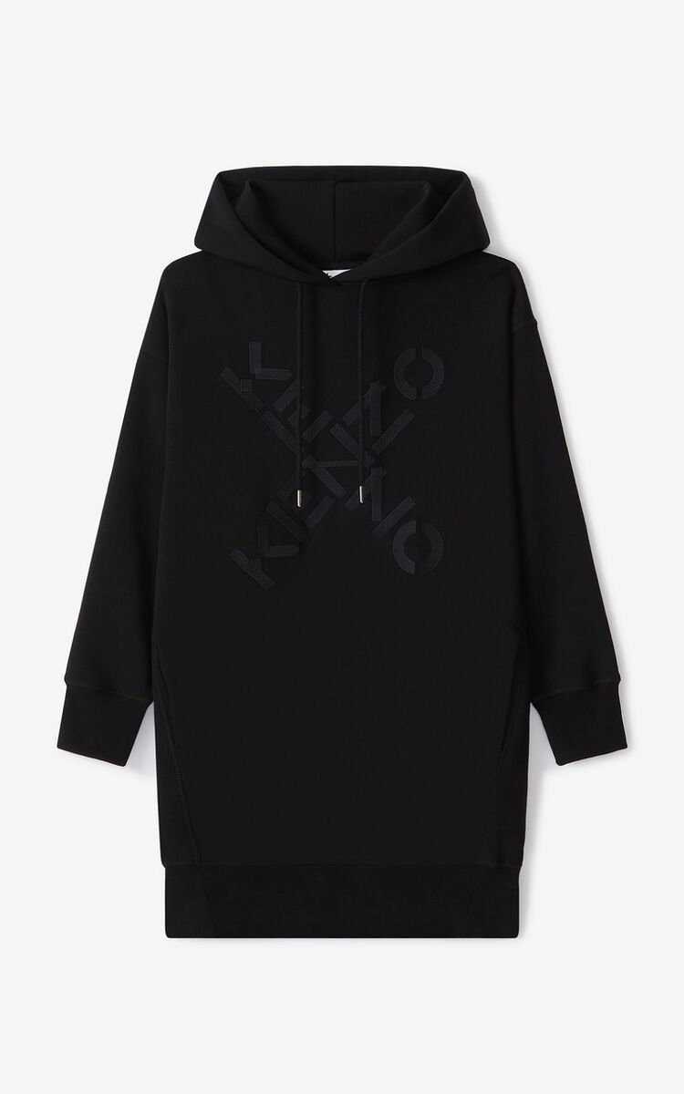 BLACK KENZO Sport 'Big X' sweatshirt dress for men