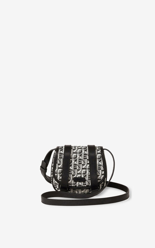 MISTY GREY Courier mini jacquard messenger bag for women KENZO