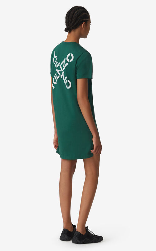 GREEN KENZO Sport 'Little X' t-shirt dress for women