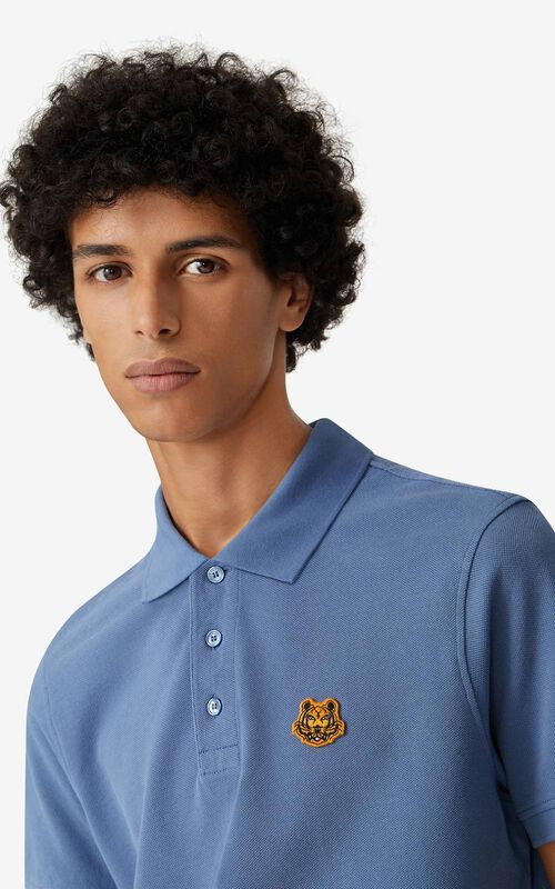 BLUE Tiger Crest polo for men KENZO