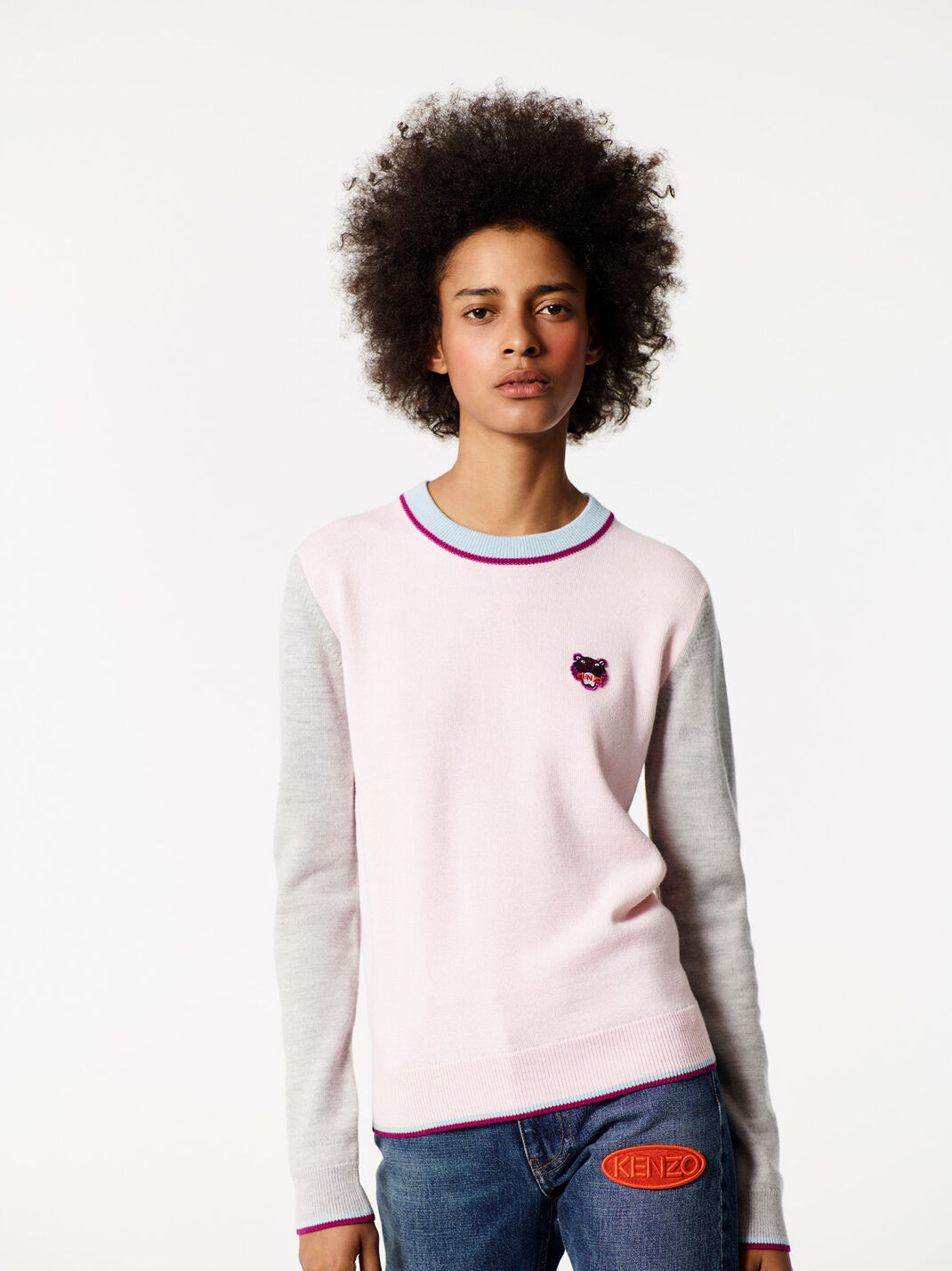 FADED PINK Tiger crest sweater for women KENZO