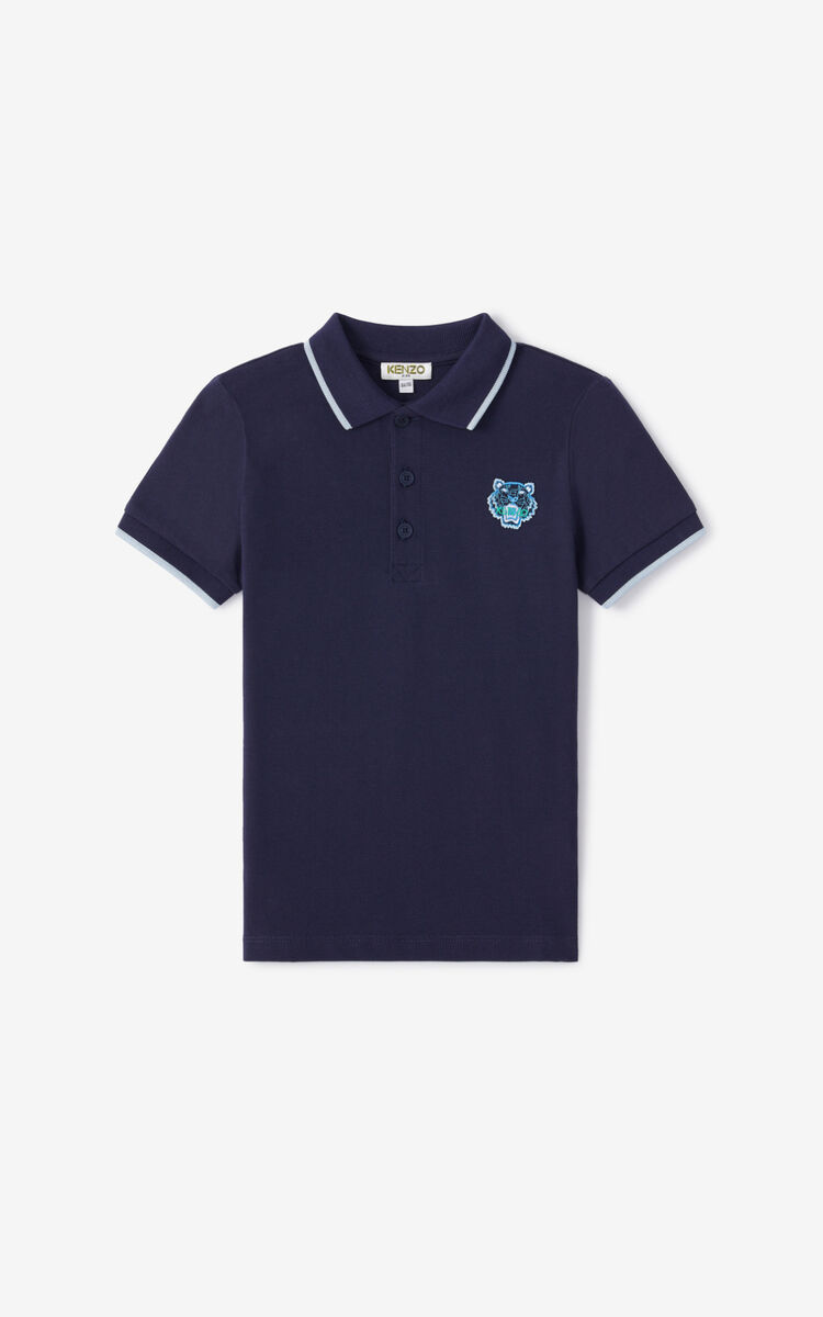 NAVY BLUE Tiger polo shirt for men KENZO