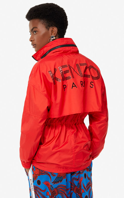 MEDIUM RED KENZO Logo mid-length windbreaker jacket for women