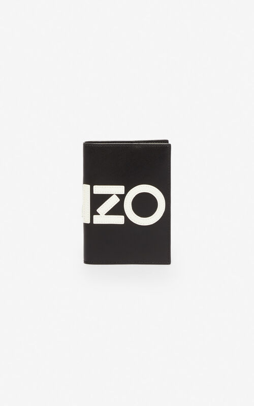 BLACK KENZO leather passport holder for unisex