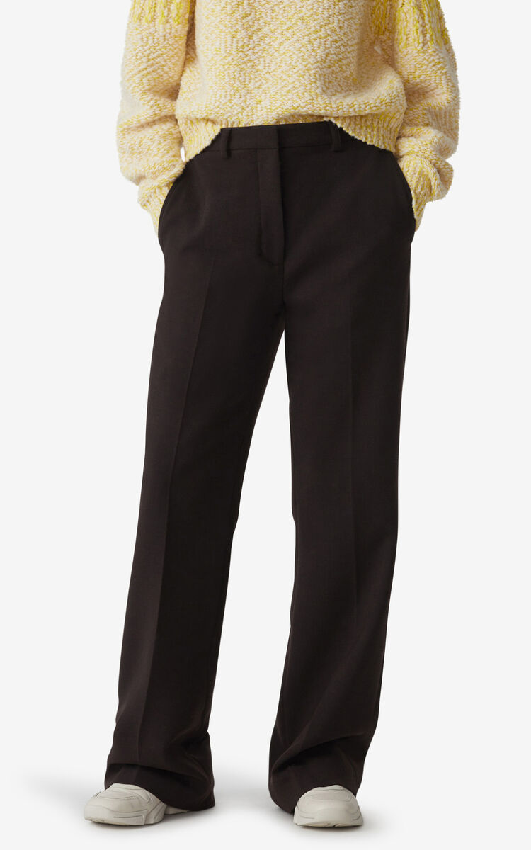 DARK BROWN Flared trousers for men KENZO