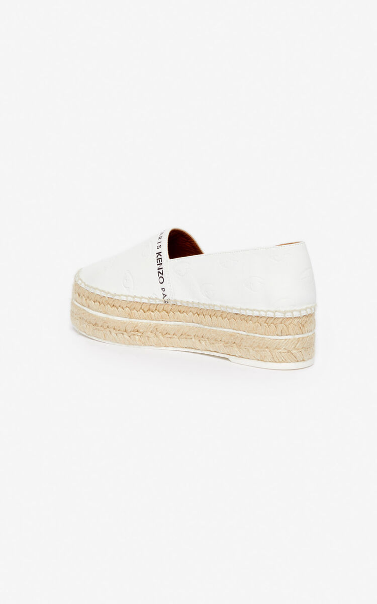 WHITE Multi Eye platform espadrilles for women KENZO