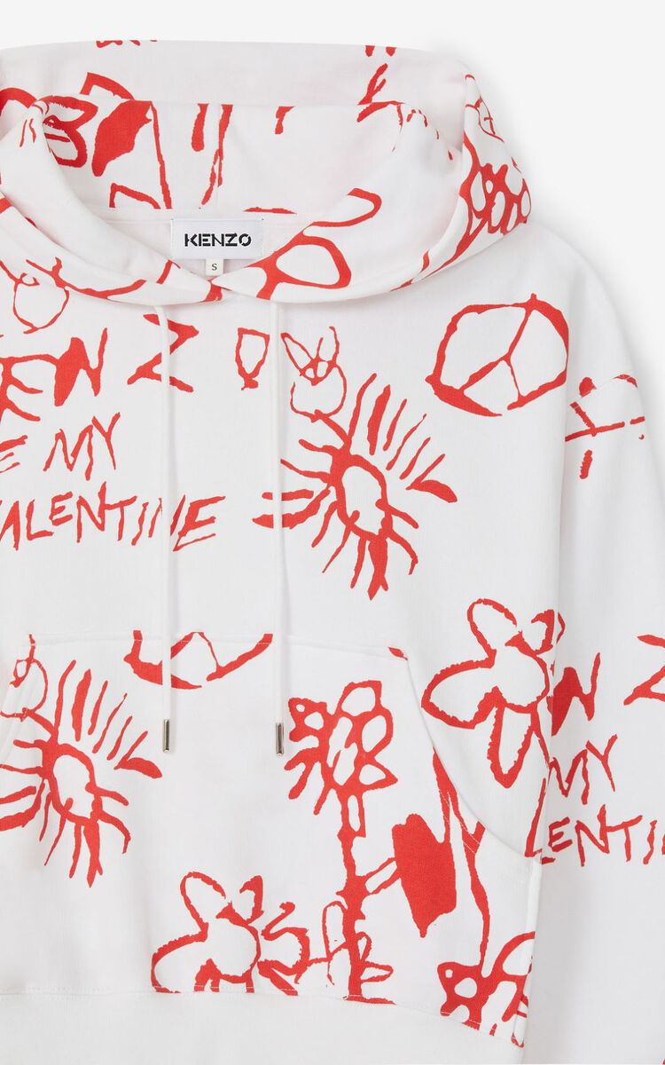 WHITE Valentine's Day Capsule 'Be my Valentine' hooded sweatshirt for women KENZO
