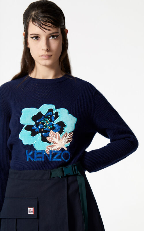 NAVY BLUE 'Indonesian Flower' jumper for women KENZO