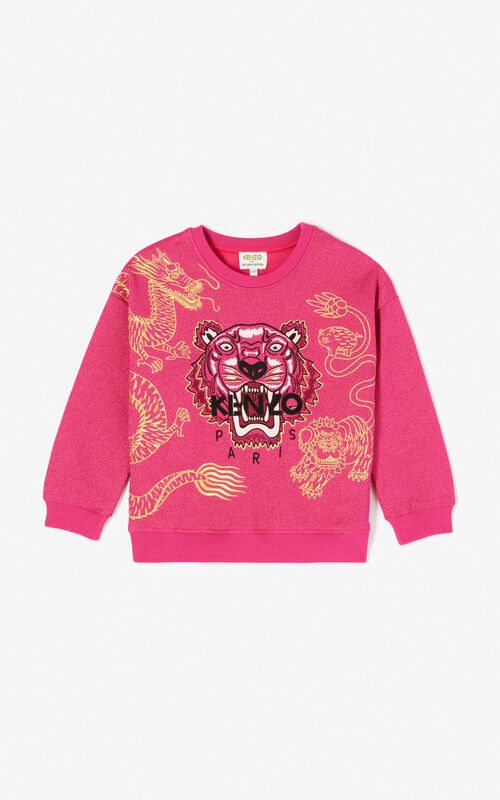 DEEP FUSCHIA Sequinned Tiger sweatshirt for women KENZO