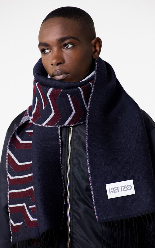 NAVY BLUE 'Geo Tiger' wool scarf for women KENZO