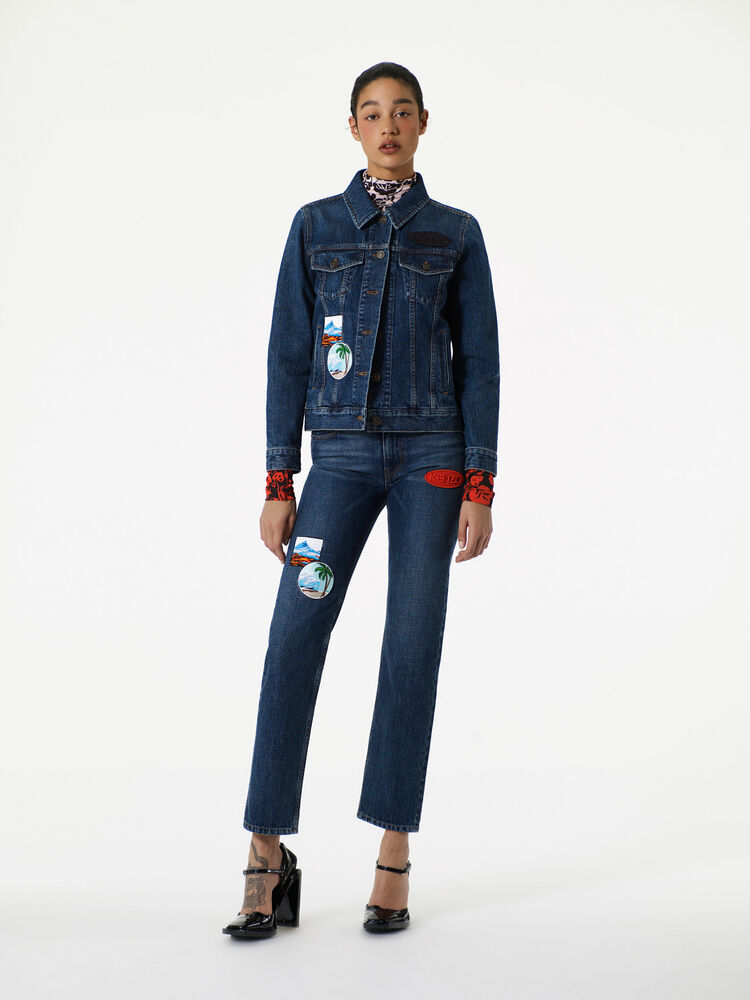 NAVY BLUE Denim Jacket with Badges for women KENZO