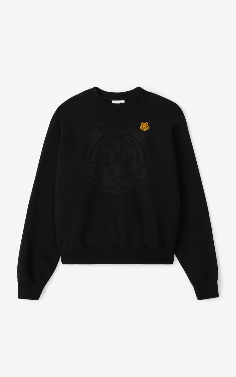 BLACK K-Tiger sweatshirt for unisex KENZO