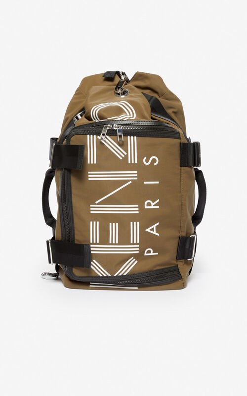 KHAKI KENZO logo travel bag for unisex