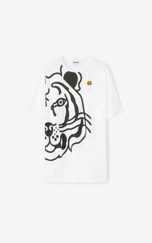 WHITE K-Tiger oversized T-shirt dress for unisex KENZO
