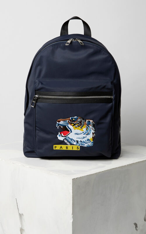 NAVY BLUE 'Tiger Face' backpack for unisex KENZO