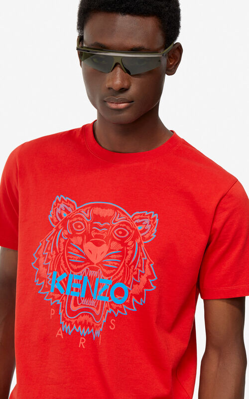 MEDIUM RED Two-tone Tiger t-shirt for men KENZO