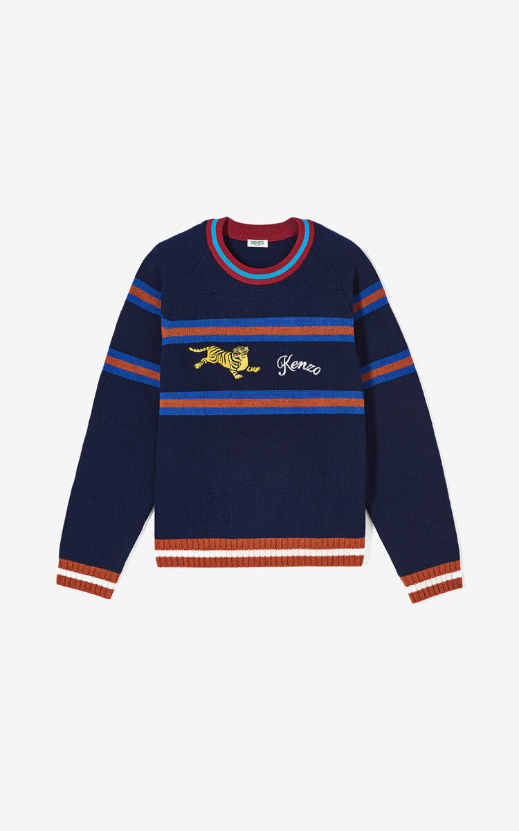 NAVY BLUE 'Jumping Tiger' jumper for men KENZO