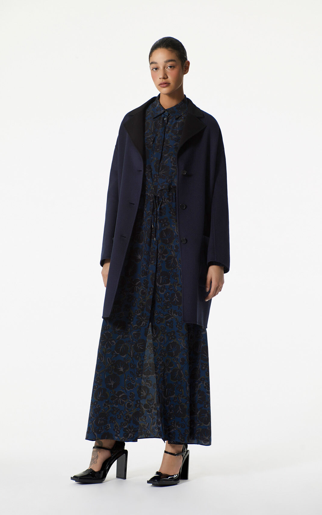 NAVY BLUE Wool Coat for women KENZO