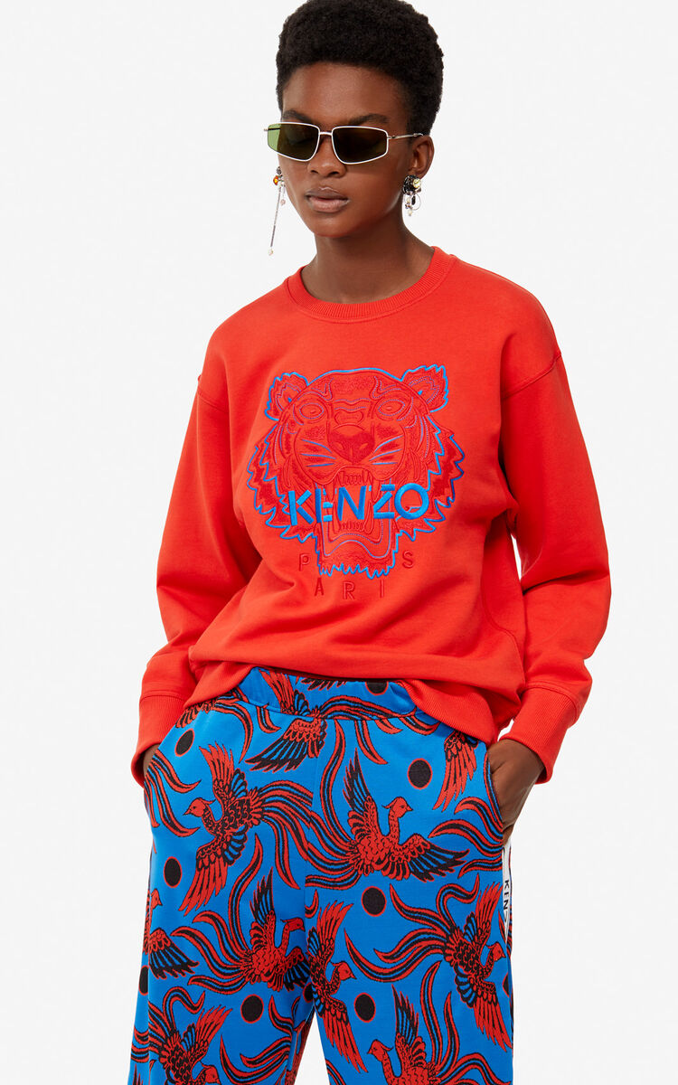 MEDIUM RED Two-tone Tiger sweatshirt for women KENZO