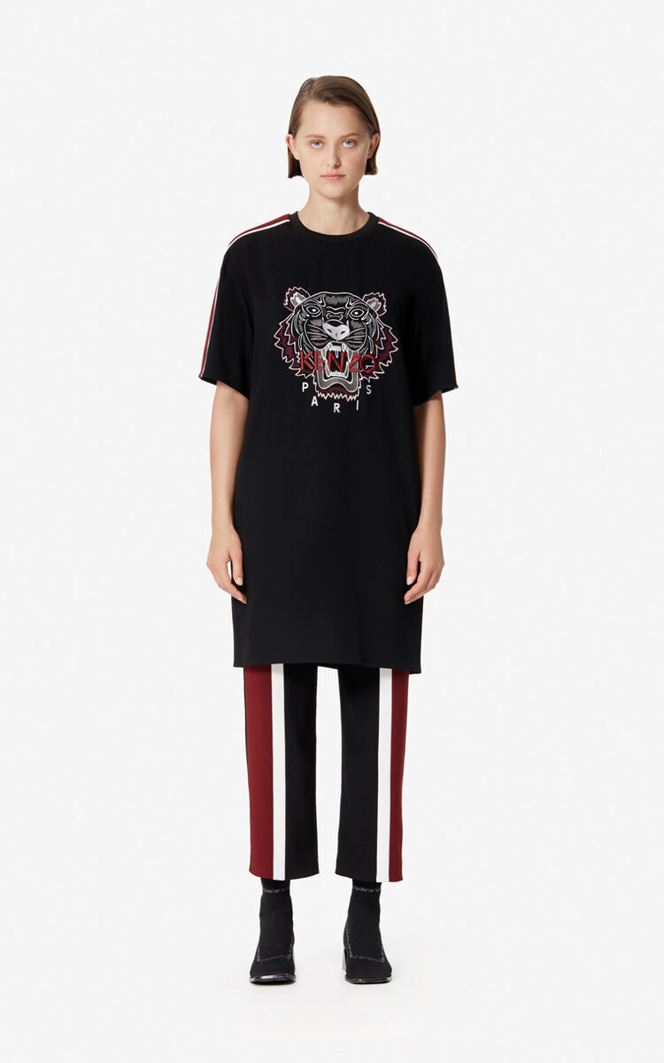 BLACK Crepe Tiger dress for women KENZO