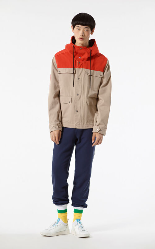 BEIGE KENZO PARIS hooded jacket for men