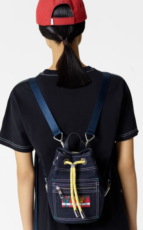 NAVY BLUE Mini denim 'Kanagawa Wave' backpack for women KENZO