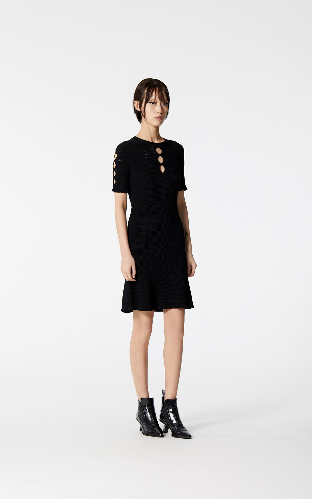 BLACK Openwork dress for women KENZO