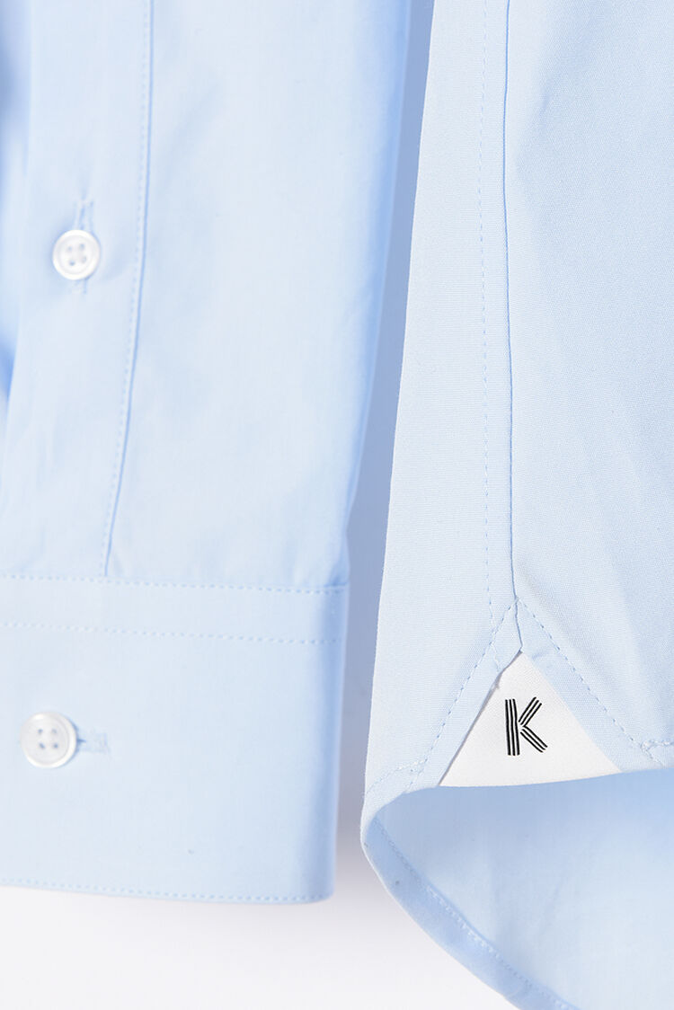 LIGHT BLUE Contrast-Tipped Cotton-Poplin Shirt for men KENZO