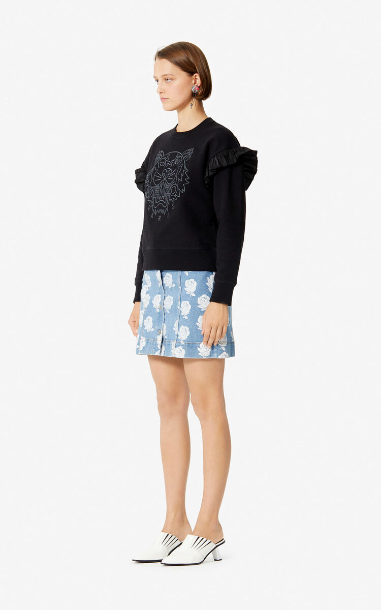 BLACK Tiger ruffle sweatshirt for women KENZO