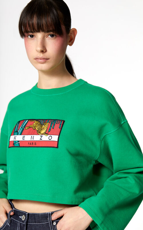 GRASS GREEN Cropped 'Bamboo Tiger' sweatshirt for women KENZO