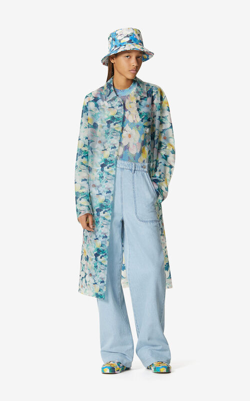 NAVY BLUE 'Gardenias' raincoat for women KENZO